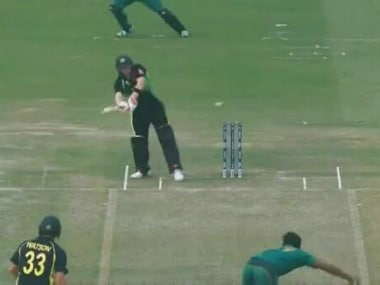 Twitter screengrab of Steve Smith playing the final ball of the 19th over wide off the stumps.