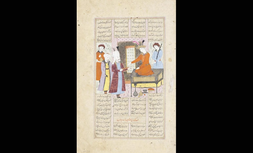 Illustrated leaf from a dispersed manuscript of Firdausi's Shahnama, depicting the enthronement of Shapur
