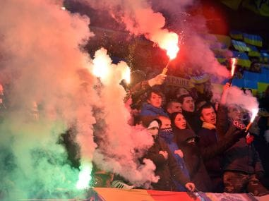 File photo of Ukraine fans reacting during a football match. AFP