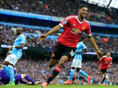 Marcus Rashford celebrates after scoring Manchester United's first goal. AP