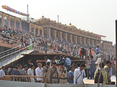 Preparations ahead of the World Culture Festival. Firstpost/Tarique Anwar