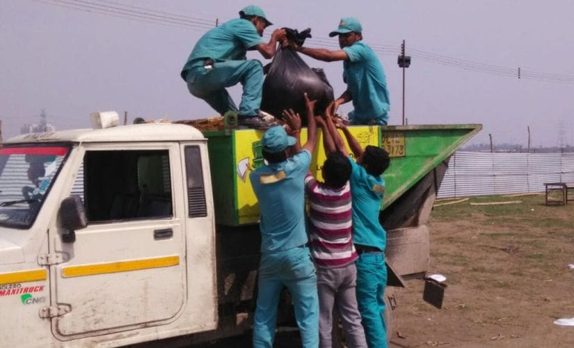 Cleanup after the World Culture Festival concluded. Image courtesy: Seema Kamdar