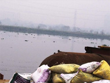 A view of the material for pontoon bridge on River Yamuna. Naresh Sharma/Firstpost