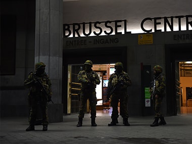 File photo of investigation for Brussels attacks. AFP