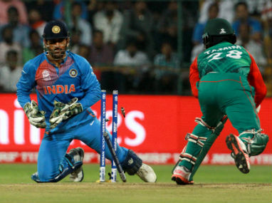 MS Dhoni stumps Tamim Iqbal during India's World T20 clash against Bangladesh in Bengaluru on Wednesday. Solaris Images