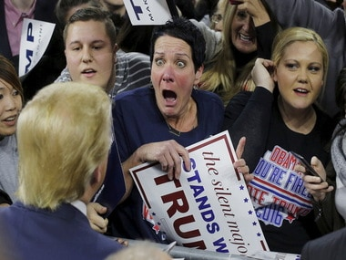 A Trump fan reacts on seeing the real thing/ Reuters