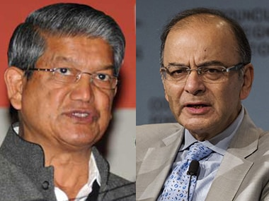 Union Finance Minister Arun Jaitley and Uttarakhand CM Harish Rawat. Image courtesy: IBNLive