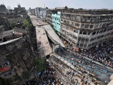 An aerial view of the site where an under-construction flyover collapsed on Vivekananda Road in Kolkata on Thursday. PTI