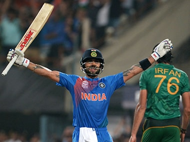 Virat Kohli after India's win over Pakistan at Eden Gardens on Saturday. AFP