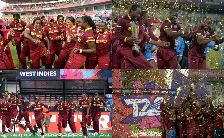 Caribbean Celebration: The West Indies men and women shake a leg after their historic World T20 triumphs - the women's team won their first World T20 title and the men's team became the first team to win the title twice. AFP
