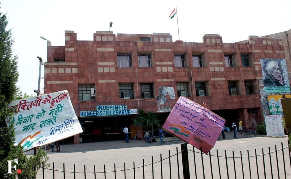 The Jawaharlal Nehru University turned into an ideological battlefield after Kanhaiya Kumar and 19 other students were punished by a high-level committee in connection with the controversial 9 February event. The students began an indefinite hunger strike on Wednesday to demand revocation of the punitive action. Naresh Sharma/Firstpost