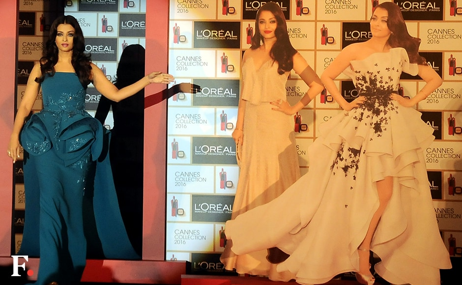 Aishwarya Rai unveiled her signature look for the upcoming Cannes Film Festival at a glitzy do on Tuesday in Mumbai.  <br />Image by Sachin Gokhale/Firstpost