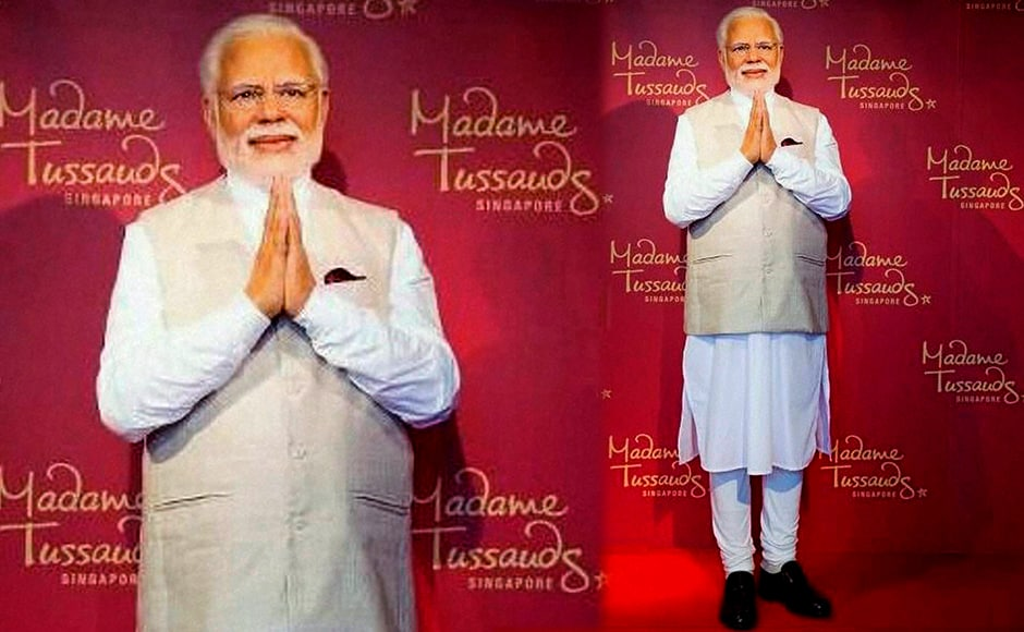 Prime Minster Narendra Modi's wax statue installed at Singapore's Madame Tussauds museum on Wednesday. Three of his wax statues have been installed in Singapore, Hong Kong and Bangkok and one of them will be put up in London in the next eight days. PTI