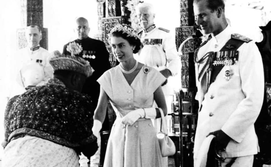 Queen Elizabeth II and Prince Philip being welcomed by a Kandyan Chief during their Royal Tour in Kandy, 23 April 1954. Central Press/Hulton Archive/Getty Images