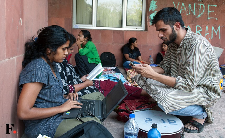 """While JNUSU President Kanhaiya Kumar has been slapped with a penalty of Rs 10,000 on grounds of """"indiscipline and misconduct"""", Umar Khalid (in picture), Anirban Bhattacharya and Kashmiri student Mujeeb Gatoo have been rusticated. Naresh Sharma/Firstpost"""