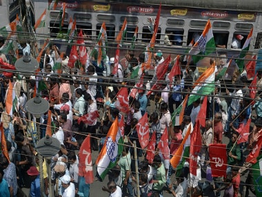 Indian activists supporting the Congress party and other leftist groups take part in a joint rally in support of their candidates in ongoing state legislative assembly elections in Kolkata on April 8, 2016. Getty Images