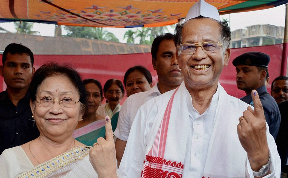Assam Chief Minister Tarun Gogoi with his wife Dolly Gogoi voted at Jorhat district of Assam on Monday. The CM is contesting against BJP's Kamakhya Prasad Tasa in a battle that election watchers are betting is going to be a bitter one. PTI