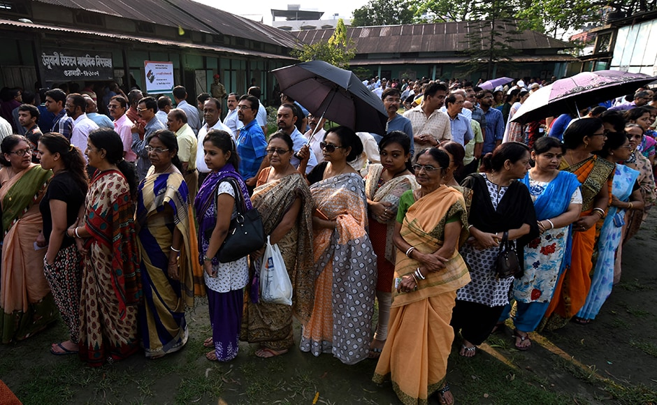 Amid reports of stray violence from various parts of the state, over 70 per cent votes were cast till 3 pm in 61 assembly constituencies of Assam to decide the fate of 525 contestants. AFP