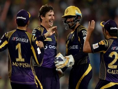 Brad Hogg celebrates with his KKR teammates. PTI