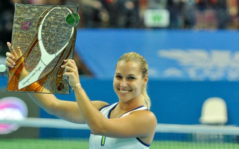 Dominika Cibulkova with the Katowice trophy. Image source: Facebook