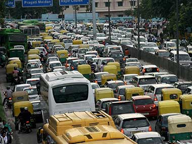 Traffic in Delhi. File photo. PTI