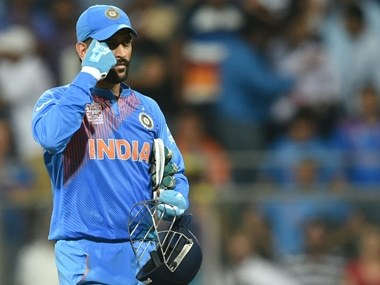 MS Dhoni during the match against West Indies. AFP