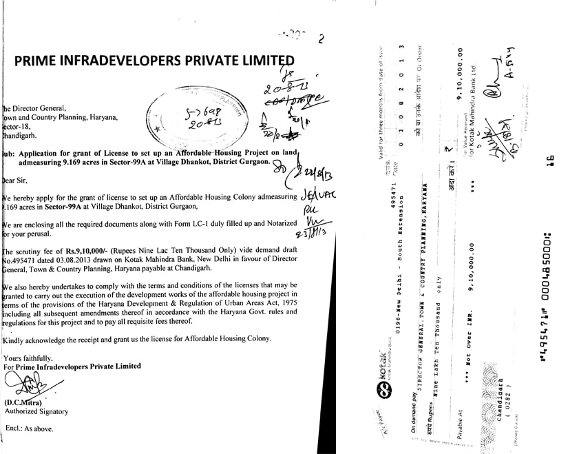 This application from Prime Infradevelopers Private Ltd is stamped on 20 August, 2013. But the third paragraph shows the date of the demand draft as 3 August, 2013.