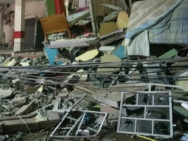 A hotel after an earthquake in the town of Manta, Ecuador. AP