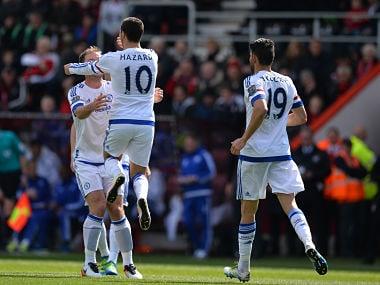 Eden Hazard celebrates after breaking his Premier League duck against Bournemouth. AFP