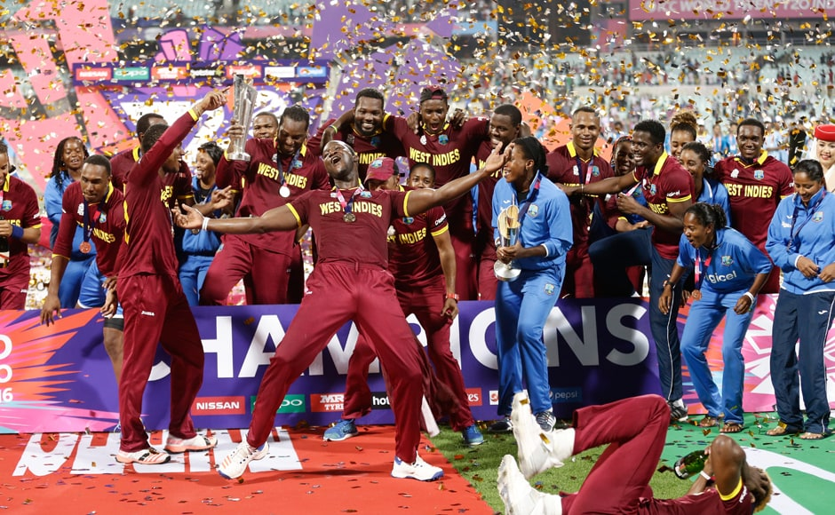 In a heartening sight, the West Indies women joined the men on the podium to celebrate both their World T20 titles. AP