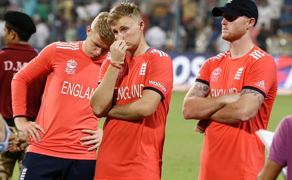 England's Sam Billings, Joe Root and Ben Stokes react after heir loss to the West Indies in the final. AP
