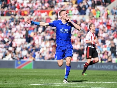 Jamie Vardy scored a double to stretch Leicester's lead at the top to 10 points. Getty