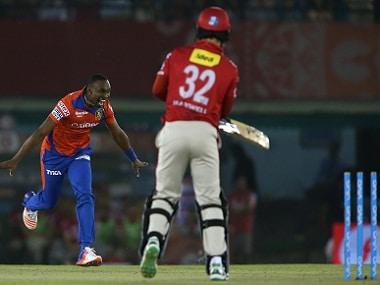 Dwayne Bravo of Gujarat Lions celebrates after bowling Glenn Maxwell of Kings XI Punjab. BCCI