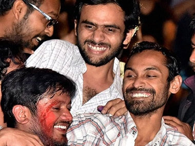 A file photo of Umar Khalid, Anirban Bhattacharya and Kanhaiya Kumar. PTI