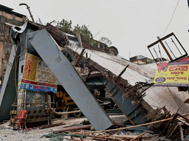 A view of the portion of the under-construction flyover that collapsed on Vivekananda Road in Kolkata on Friday. PTI