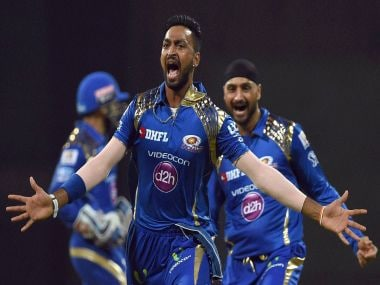 Krunal Pandya celebrates the wicket of AB de Villiers. PTI