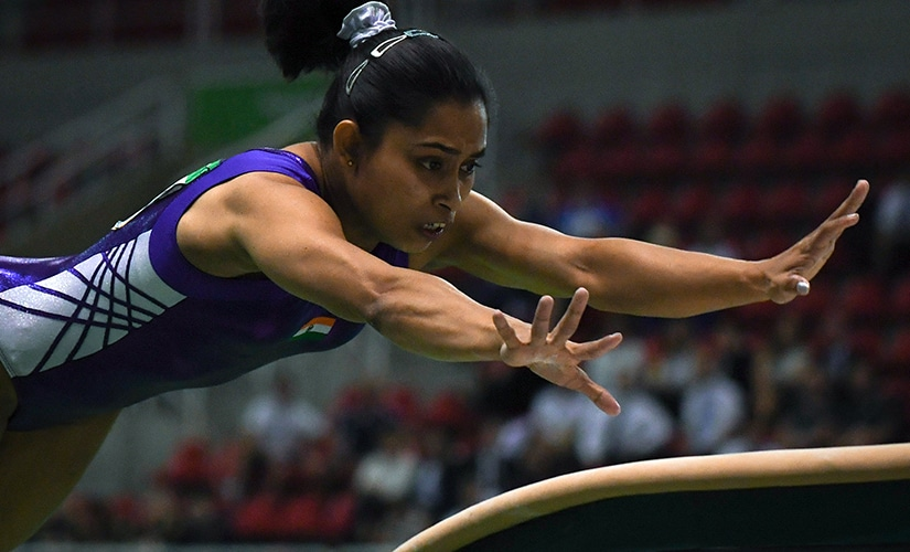 Dipa Karmakar competes during the artistic gymnastics test event Women's Vault final. AFP