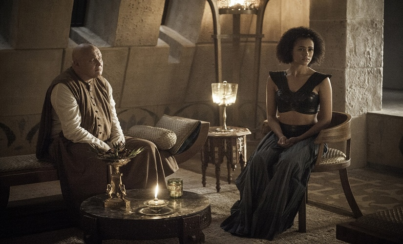 Lord Varys and Missandei. Game of Thrones, HBO and related service marks are the property of Home Box office, Inc. All rights reserved