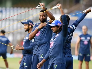Mumbai Indians' players during the practice session at Wankhede Stadium. PTI