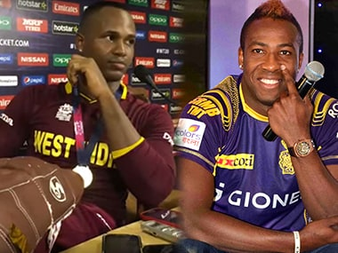 Left: Marlon Samuels during the World T20 final press conference. Right: Andre Russell.