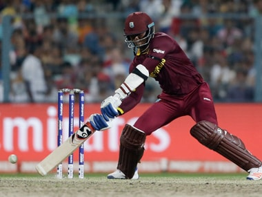 Marlon Samuels during his knock against England in the final at Eden Gardens on Sunday. AP