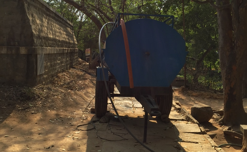 A mobile water tanker in the zoo dedicated to keeping the animals hydrated in the oppressive heat. Firstpost/Janaki Murali