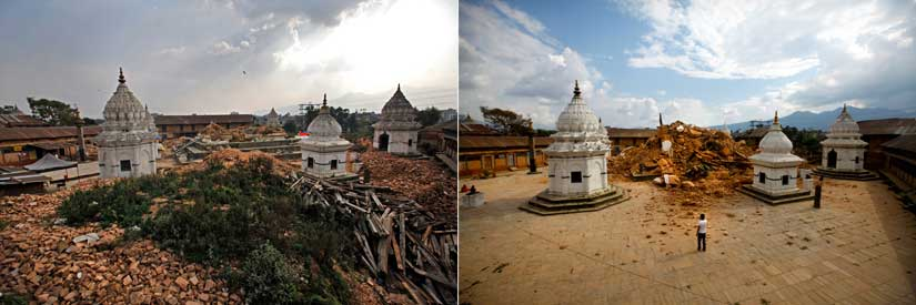 One of the oldest temples in Nepal in 2015 (left) and 2016 (right). AP
