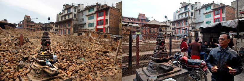 Statues of the Buddha are seen amid debris caused by earthquake (left), a Nepalese man lights a butter lamp in front of the Buddha statues at the same site in 2016 (right). AP