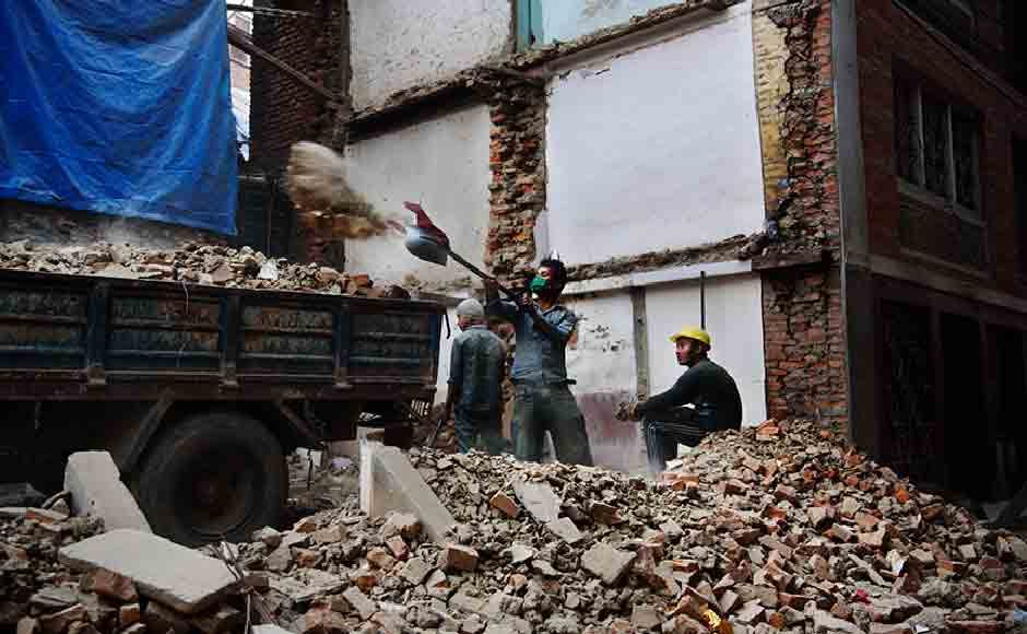 A neighborhood at Patan where debris are still lying uncleared. The $4 billion aid money that Nepal received through international donations is yet to reach them. Image courtesy: Smita Sharma