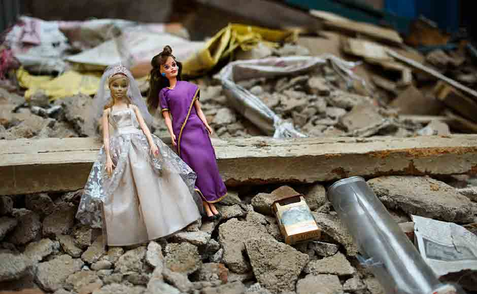 In the aftermath of the earthquake abandoned houses and abandoned objects are commonplace. Here, Barbie dolls are seen lying at a broken and abandoned house. Image courtesy: Smita Sharma