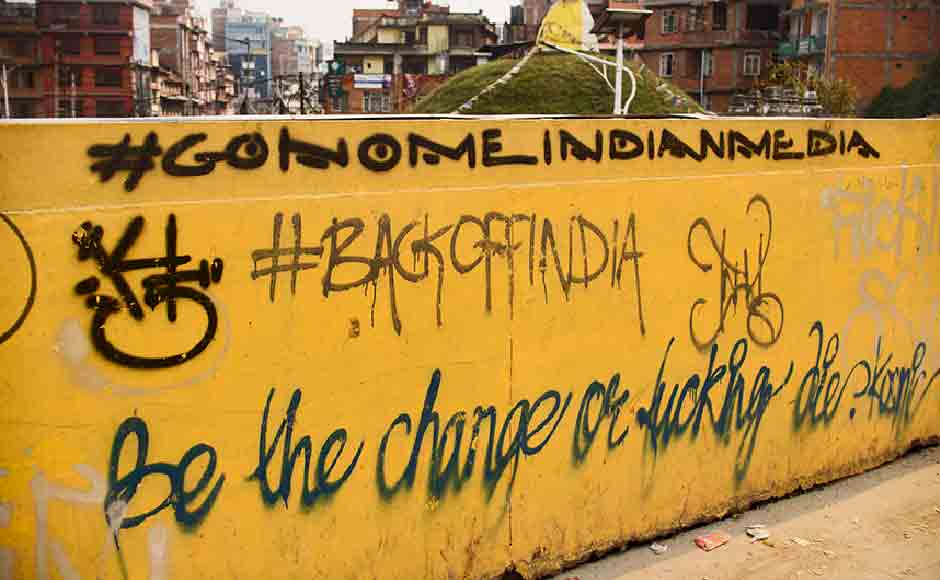 Graffiti on a wall demanding the Indian Media to leave them alone. Thousands of internet users in Nepal took to social media, just a few days after the earthqauke, asking Indian journalists to stop with the 'insensitive' and 'patronising' reporting. Image courtesy: Smita Sharma
