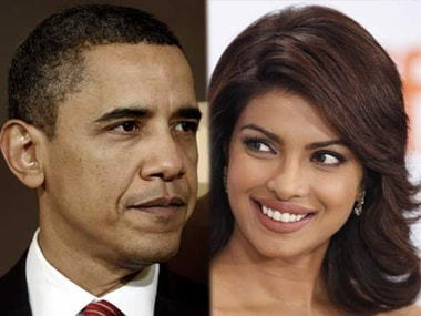 Barack Obama (L) and Priyanka Chopra. Image from IBNlive