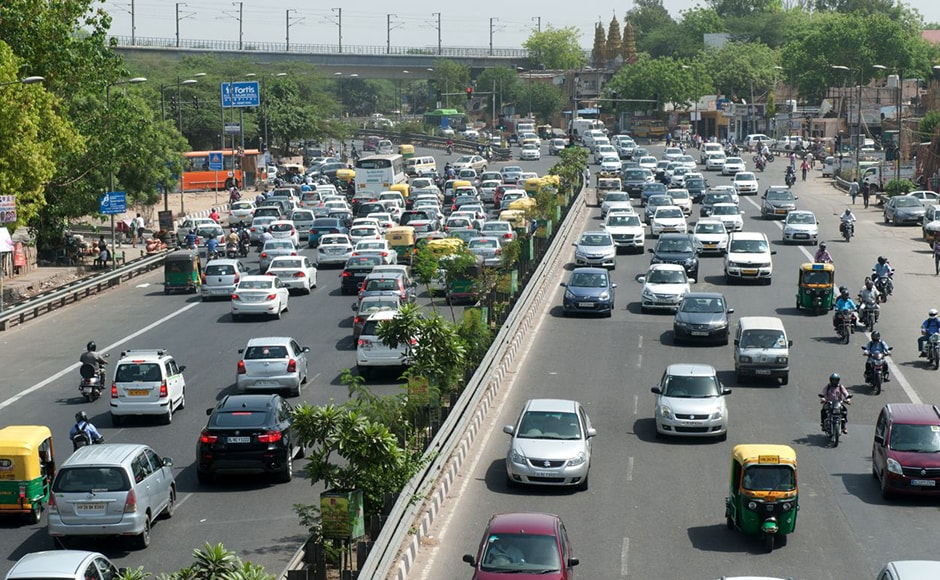 A bird's eye view of one of the busiest roads in West Delhi. Despite the Odd-Even scheme, traffic snarls slowed movement as compared to the previous days of the second phase of the road rationing scheme. Firstpost/Naresh Sharma