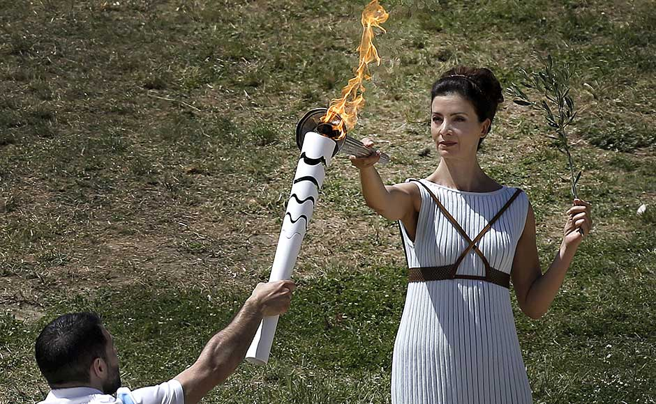 At the site of ancient Olympia in Greece, a dress rehearsal for the Olympic flame lighting ceremony for the Rio takes place. REUTERS/Alkis Konstantinidis